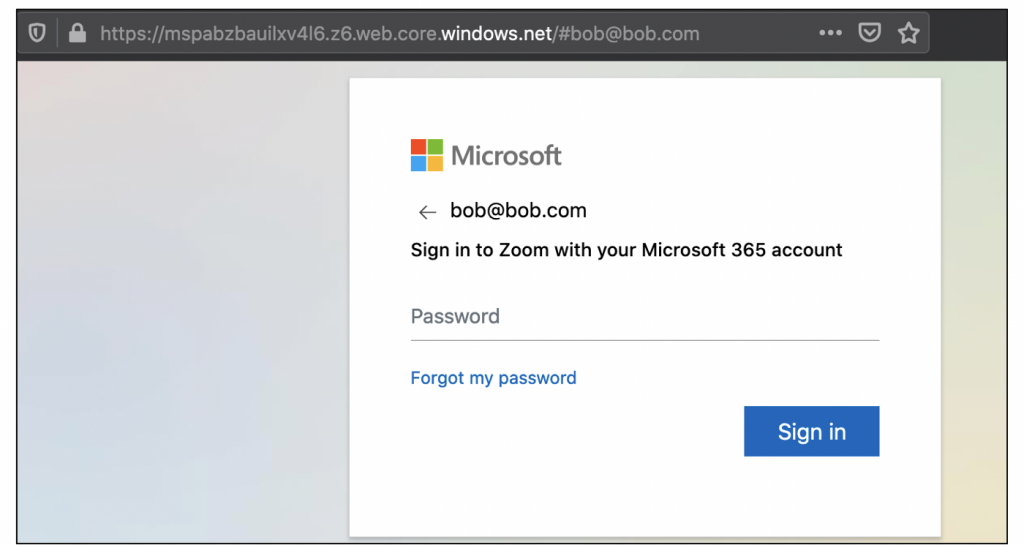 Screenshot of a fake login page